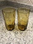 DECATUR TEXAS TEX GLASS THUMBPRINT AMBER ICED TEA TUMBLER(S)