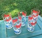 5 Vintage Federal Glass Drinking Glasses Tumblers - Red White Blue Bows Dots