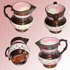 ANTIQUE VICTORIAN COPPER LUSTER CREAM PITCHER WITH PINK LUSTER ACCENTS