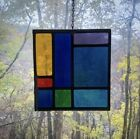 Mid Century Modern Architectural Church Salvage Leaded Stained Glass-Geometric