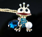 Gold Plated Blue Crystal Enamel Crown Frog Pendant Sweater Chain Necklace