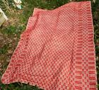 Vintage Red and White Design Woven Coverlet / Bedspread - 66