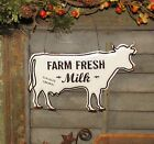 Primitive Antique Vtg Style Dairy Farm Cow Milk Embossed Hanging Metal Tin Sign