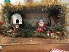 Antique Tiger Cigar Box With Vintage Gnome Christmas Scene