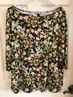 J Jill Wearever Black Green Pink Floral Print Rayon Top Size Large