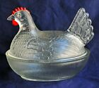 Vintage Indiana Hen / Chicken on Nest with Lid Clear Glass Red Comb
