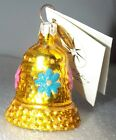 Radko TINKLE BELL Gold w/ Pink & Blue Daisies Christmas Ornament New NWT 0103240