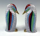 Pair Hollohaza Hungary Colorful Hand Painted Fishnet Penguin Figures