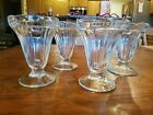 4 Pc. Vintage Ice Cream Parlor Sundae Dish Clear Glass w Ribbed Sides Scalloped