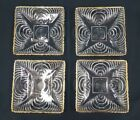 Set of 4 Six Inch Square Art Deco Cut Glass Swirl Design Plates With Gold Trim