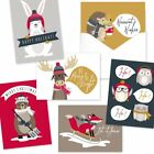 Woodland Animals Christmas Holiday Greeting Note Card Pack with Envelopes