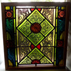 Antique Church Stained Glass Window Architectural Salvage Colorful Victorian W2