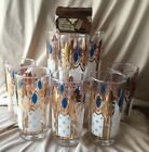 Gold Collins Cocktail Glasses Set of 8 Mid Century Barware