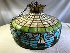 Antique Slag-Stained Glass Dutch Pendant Hanging Lamp Light - 1900s Chandelier