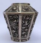 Old Chinese Export Silver Hammered Repousse Dragon SHOU SYMBOL VASE Signed