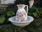 Large Victorian Antique Wash Basin Pitcher Bath Ceramic Set Floral Brown Red