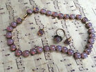 Vintage Art Glass Pink Opal Necklace choker stud earrings and ring Set