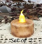 Grungy CREAM Tea Lights AUTO TIMERS Set of 2 Grungy Wax Dipped 1.5