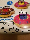 New Big Mouth Inc Inflatable Pool Party Donut Beverage Boats 3 Pack