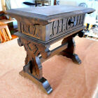 Antique Carved Wood Storage Bench Lift Top Sewing Chest Victorian Eastlake Era