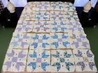 20 Vintage Hand Pieced Feed Sack TULIP LADY FINGERS Quilt BLOCKS; 15