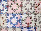 Vintage Hand Pieced Feed Sack SNOW CRYSTALS, STAR Quilt TOP; 77