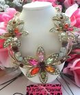 BEAUTIFUL BETSEY JOHNSON MULTI COLOR FLORAL LINKED STATEMENT NECKLACE