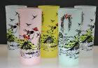 VINTAGE SET OF 5 FROSTED TOM COLLINS GLASSES WOMAN IN PARK WITH UMBRELLA