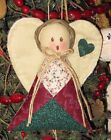 HAND MADE COUNTRY QUILTED ANGEL ORNAMENT ORNIE  FABRIC #1843