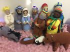 Vintage 1970s 80s Hand Crocheted 12 pc Nativity Scene Figures Dolls Large Size