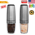 2x Electric Automatic Pepper Salt Grinder Shaker Mill Stainless Steel Adjustable