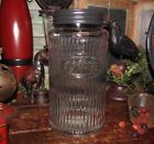 Primitive Antique Vtg Style Canister HOOSIER Ribbed Glass COFFEE Jar w Black Lid