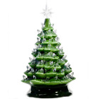 Vintage Hand Painted Green Ceramic Christmas Tree 145 WHITE Lights