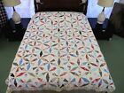 WELL USED Vintage Hand Sewn HEXAGONAL KALEIDOSCOPE All Cotton Quilt; 83
