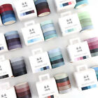 5pcs Washi Tape Set Solid Rainbow Paper Adhesive Sticker Masking Scrapbook Decor
