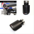 1 Pcs 63mm IN 89mm OUT Glossy Black Carbon Fiber Car Exhaust Tips Muffler Pipe