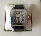 BRAND NEW CARTIER SANTOS MENS LARGE WATCH WITH BLACK LEATHER BAND R//$6850