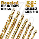 18K Gold Plated Beveled Cuban Links Stainless Steel 316L Chain Necklace 14 48