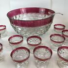 Vintage Indiana Glass Diamond Point Ruby Red Flash Trim Punch Bowl Set  11 Cups