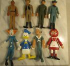 8 Vintage Bendie Bendable Rubber Figurines Tonto Bozo Duck Popeye Soldier lone