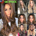 28'' Synthetic Straight Long Wigs Ombre Brown Gold Blonde Linen Fashion Hair USA