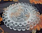 2 Boopee Glass Serving Candy Dishes Coaster Clear  Home Decor Etched Rose Design