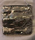 NWT BCBG Large Sequin Bag Makeup Travel Pouch Magnet Foldover Handbag Clutch $68