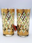 CULVER Diamond Tumblers 22 Karat gold set of 2 Cocktail Glasses Replacements