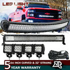 52Inch LED Light Bar Curved +32in +3 Pods Jeep Truck Offroad Combo Kit Driving