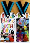 Premade Scrapbook Page SEWN Tags EmbellishSet of 2 Large Happy Birthday