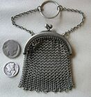 Antique Victorian Silver Tone Mesh Finger Ring Chatelaine French Doll Coin Purse