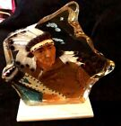 Glass Rock Shape Carved Painted Native American on Marble Stand 7 1 2 T 6 1 2