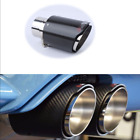 1PCS Real Carbon Fiber Glossy Exhaust Tips Muffler 175mm Black Stainless Steel