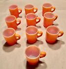 Set Of 10 Vintage Anchor Hocking Fire King Orange Stacking Mugs